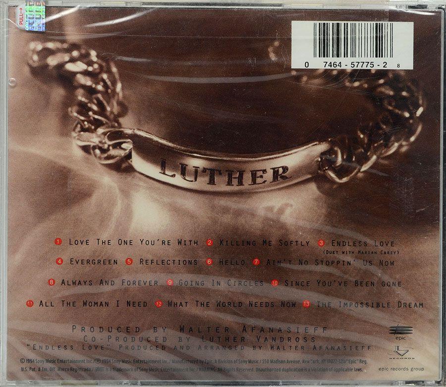 Cd Luther Vandross - Songs - Lacrado - Importado