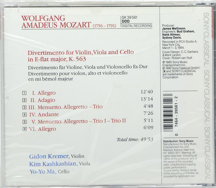 Cd Mozart: Divertimento K 563 - Kremer - Kashkashian - Ma - Lacrado - Importado