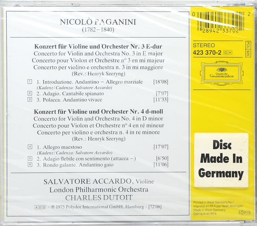 Cd Paganini Violinkonzerte Nr 3 & 4 Accardo London Philharmonic - Lacrado - Importado