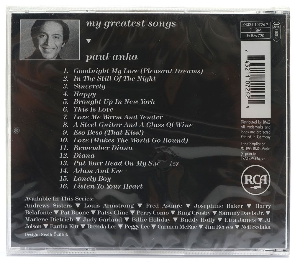 CD Paul Anka - My Greatest Songs - Importado - Lacrado