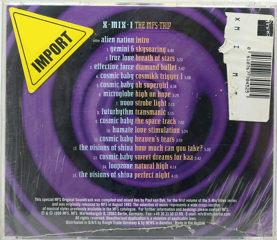 Cd Paul Van Dyk X-Mix-1 - The Mfs Trip - Lacrado - Importado