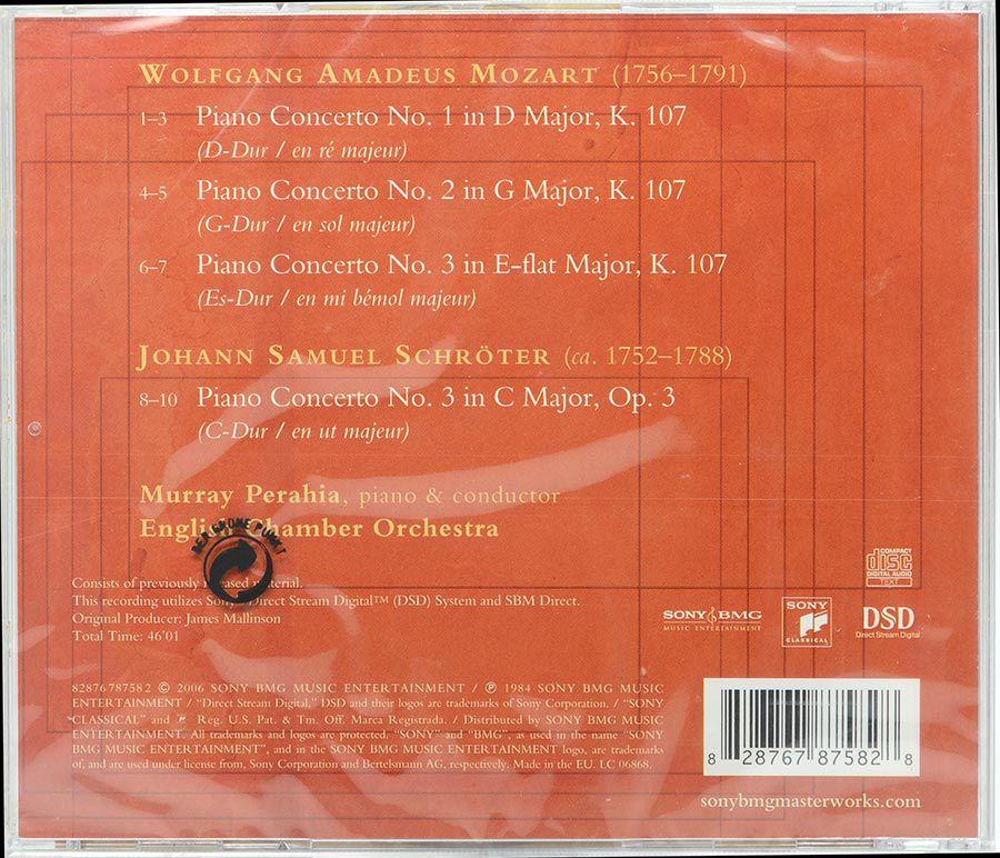 Cd Perahia - Mozart & Schroter Piano Concertos - Lacrado - Importado