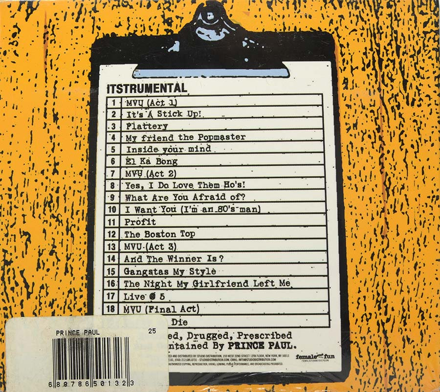 Cd Prince Paul - Itstrumental - Lacrado - Importado