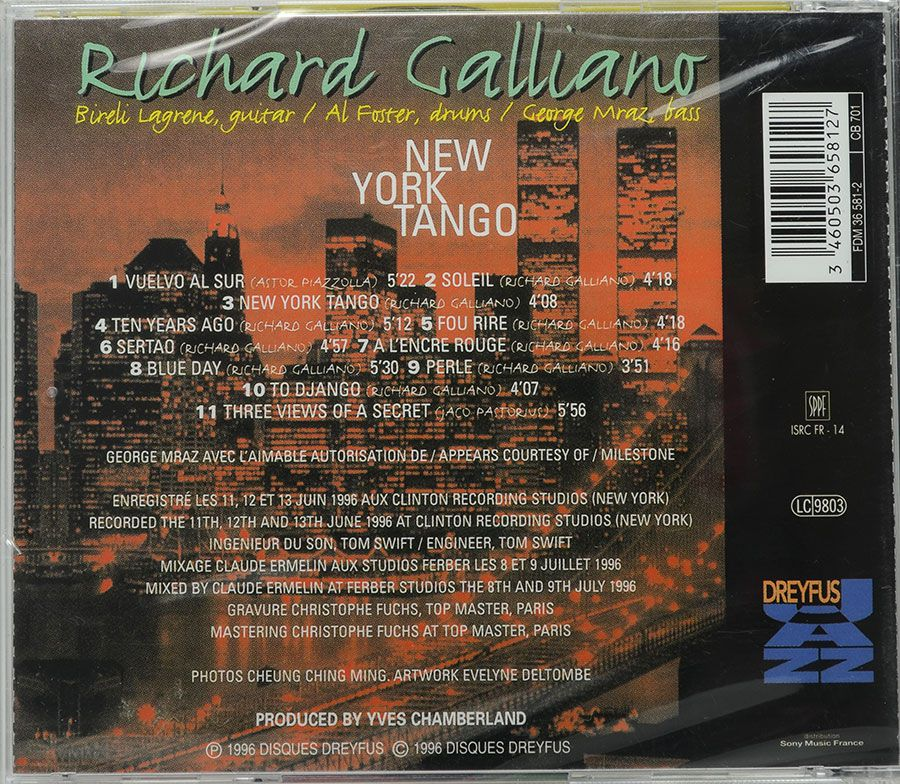 CD Richard Galliano - New York Tango - Lacrado - Importado