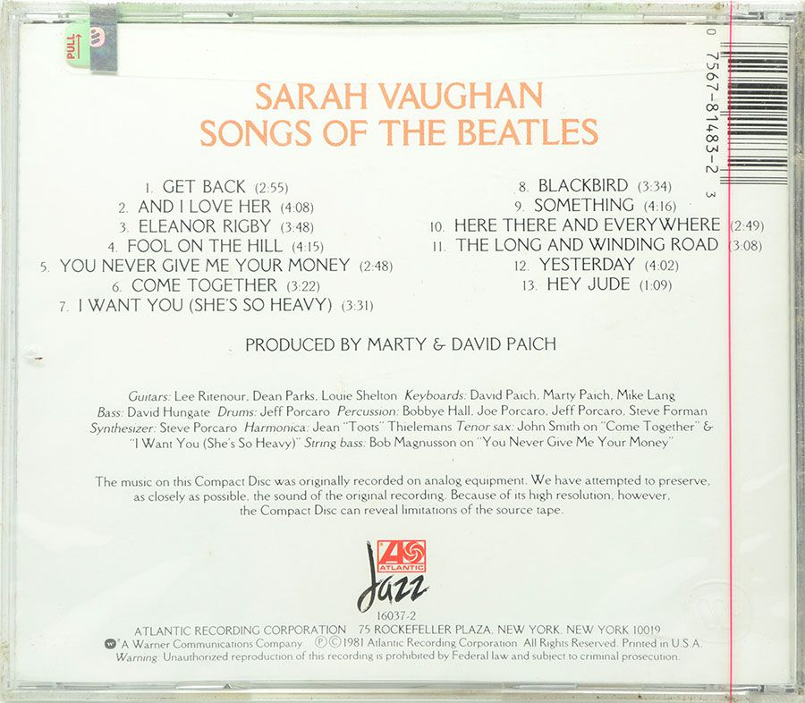 CD Sarah Vaughan - Songs Of The Beatles - Lacrado - Importado