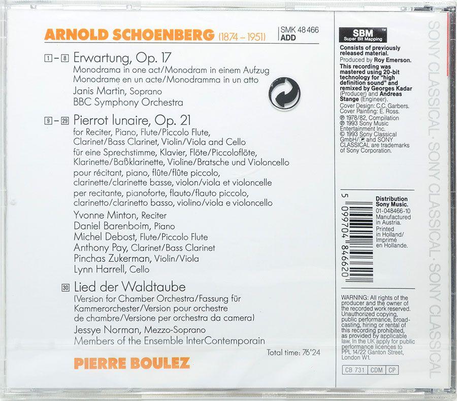 CD Schoenberg: Erwartung, Pierrot Lunaire, Lied der Waldtaube - Lacrado - Importado