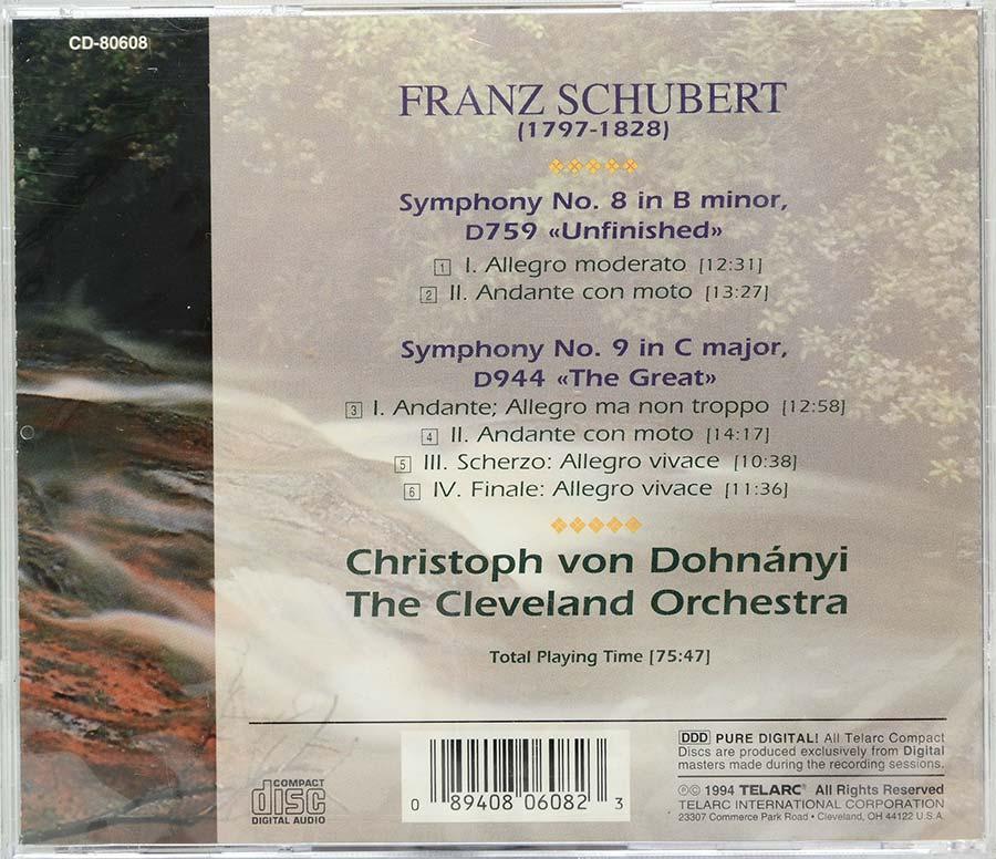 Cd Schubert - Symphonies Nos 8 & 9 - Lacrado - Importado