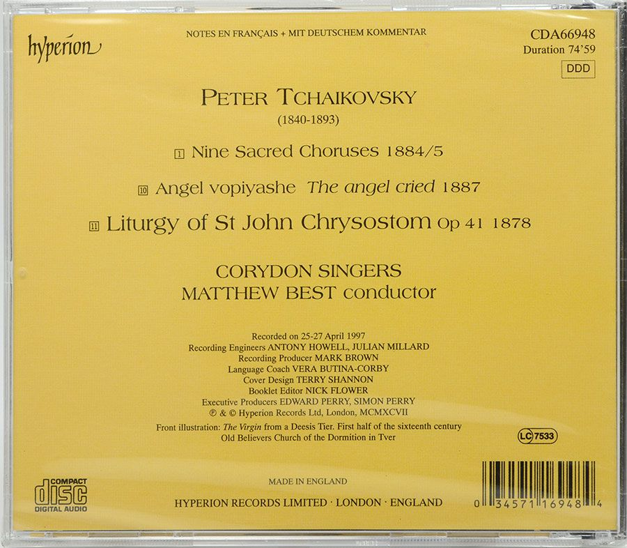 CD Tchaikovsky - Liturgy Of St John Chrysostom - Lacrado - Importado
