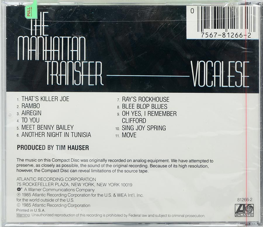 Cd The Manhattan Transfer - Vocalese - Lacrado - Importado