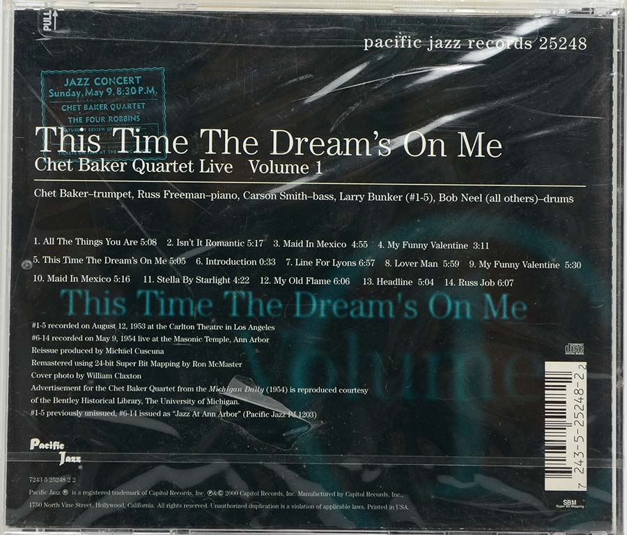 Cd This Time The Dreams On Me - Chet Baker Quartet Live Vol 1 - Lacrado - Importado