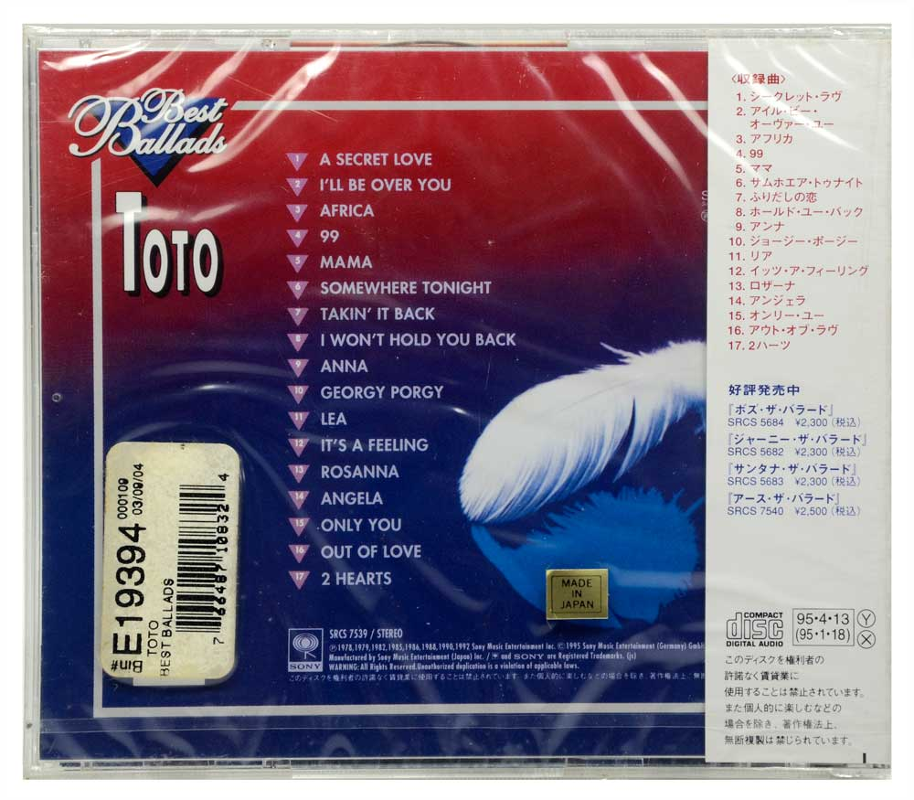 CD Toto - Best Ballads - Importado Japão - Lacrado