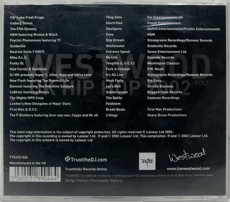 CD Westwood - UK Hip Hop 2002 Vol1 - Lacrado - Importado