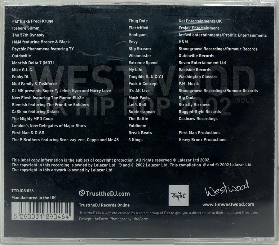 CD Westwood - UK Hip Hop 2002 Vol1 - Lacrado - Importado
