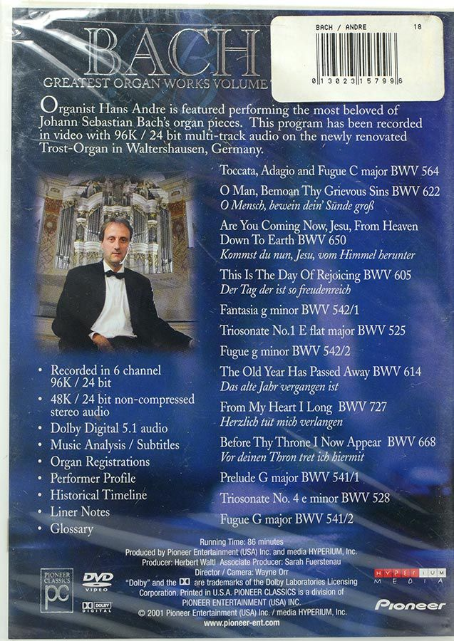 DVD Bach Greatest Organ Works Vol 2 - Lacrado - Importado