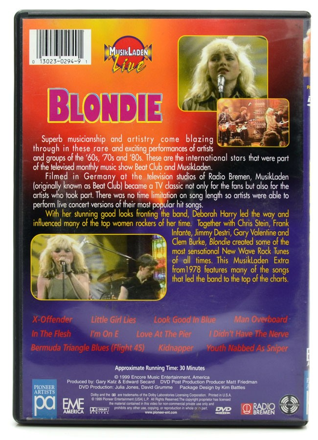 DVD Blondie - The Best Of Musikladen Live - Importado