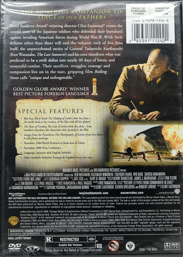 DVD Cartas de Iwo Jima - Clint Eastwood Região 1 - Lacrado - Importado