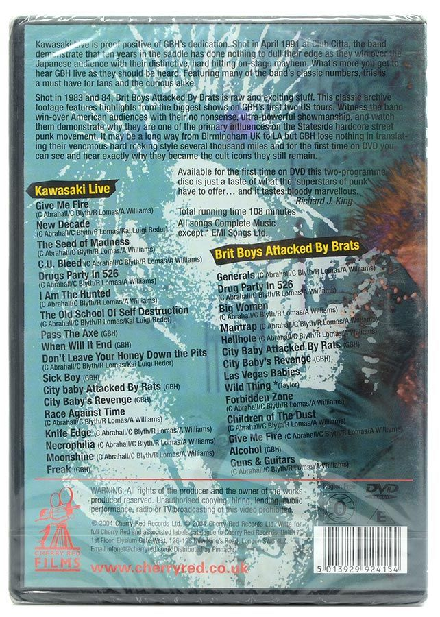 DVD GBH Kawasaki Live - Brit Boys Attacked By Brats - Lacrado - Importado