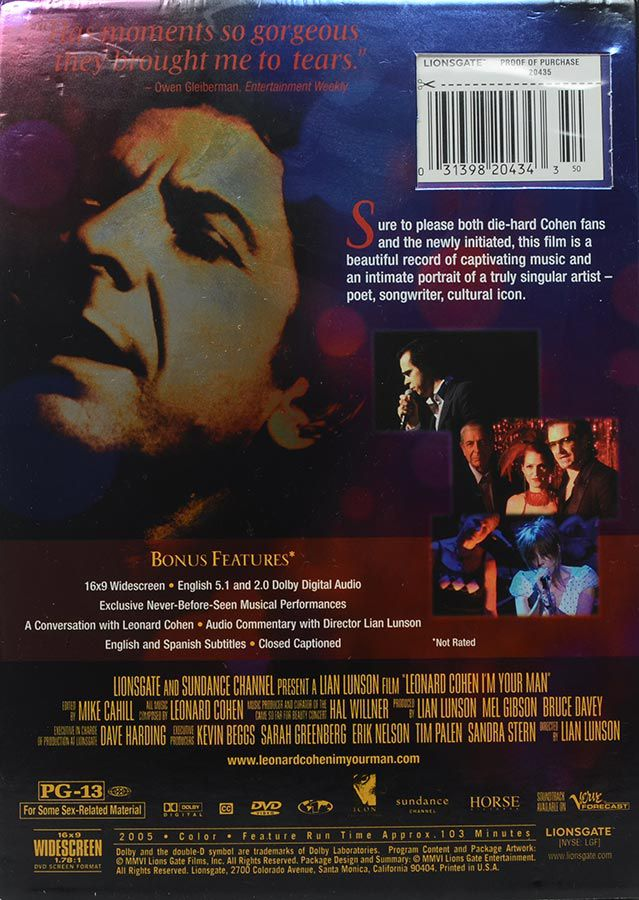DVD Leonard Cohen - I'm Your Man - Região 1 - Importado