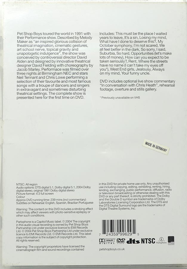 DVD Pet Shop Boys Performance - Importado