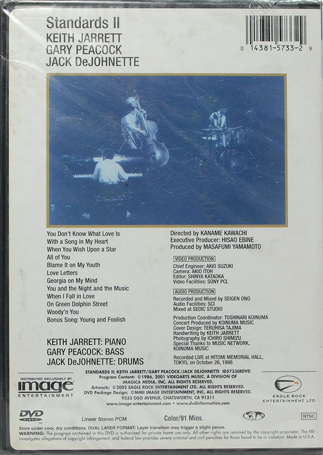 DVD Standards II - Keith Jarrett Gary Peacock Jack Dejohnette - Lacrado - Importado