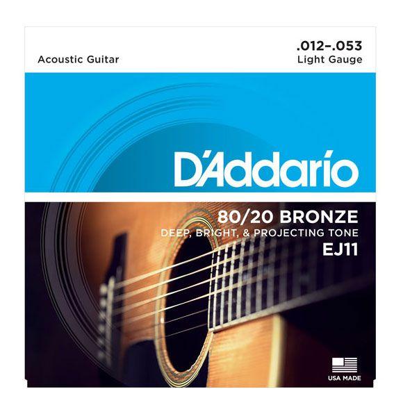 Encordamento Violão Aço Daddario EJ11 12-53 80/20 Bronze