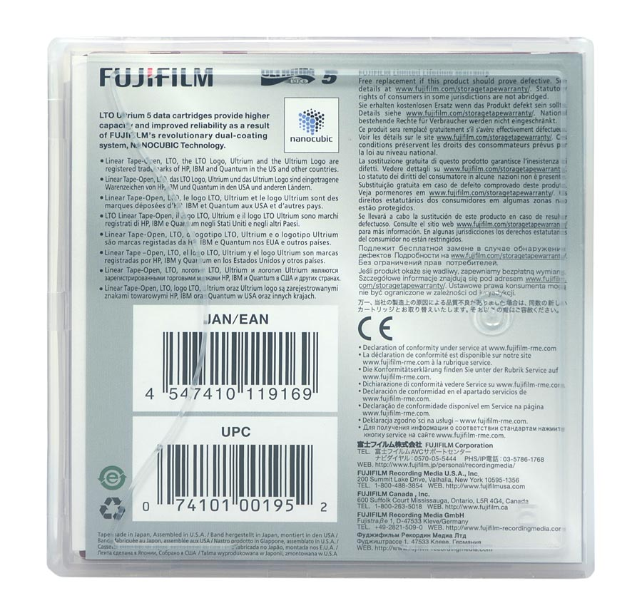 Fita De Dados Fujifilm LTO-5 Ultrium 1.5TB / 3.0TB - 16008030