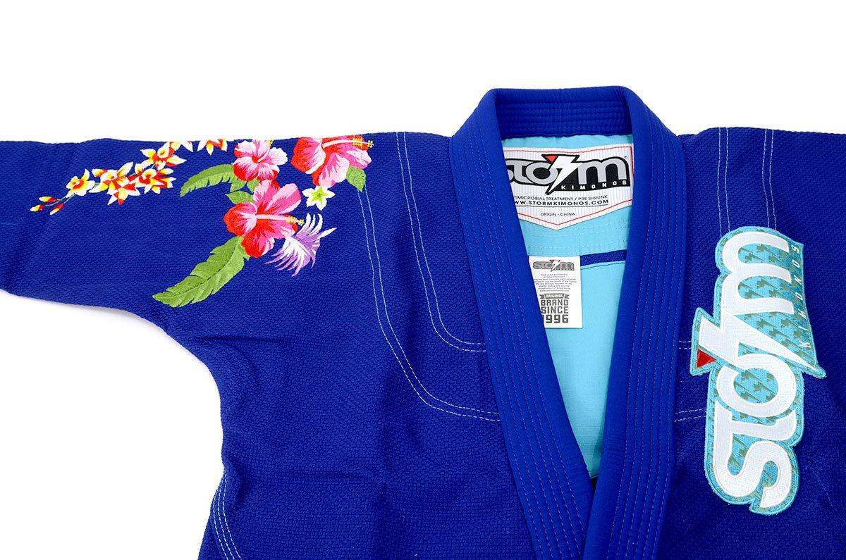 Kimono Storm Eden Jiu-Jitsu Bordado Feminino - Azul