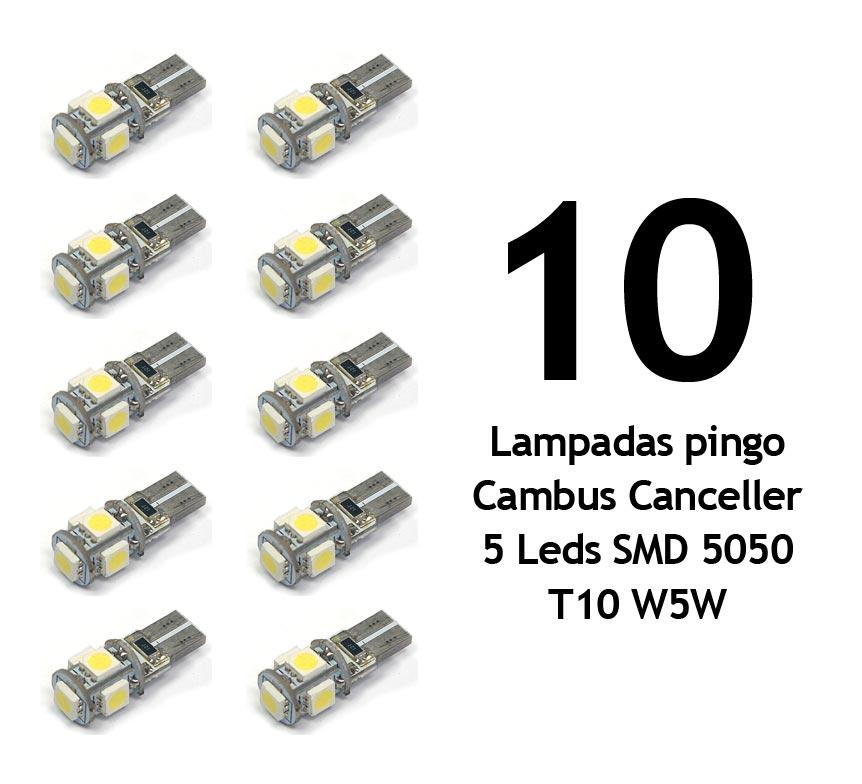 Lote 10 Lampadas Pingo Cambus Canceller 5 Leds SMD 5050 T10 W5W - Super Branca Xenon