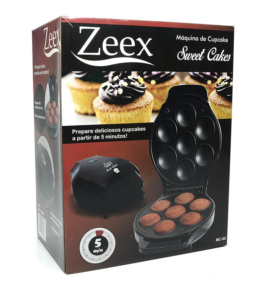 Máquina de Cupcake ZEEX Sweet Cakes 800W Cupcake Maker Antiaderente Preta