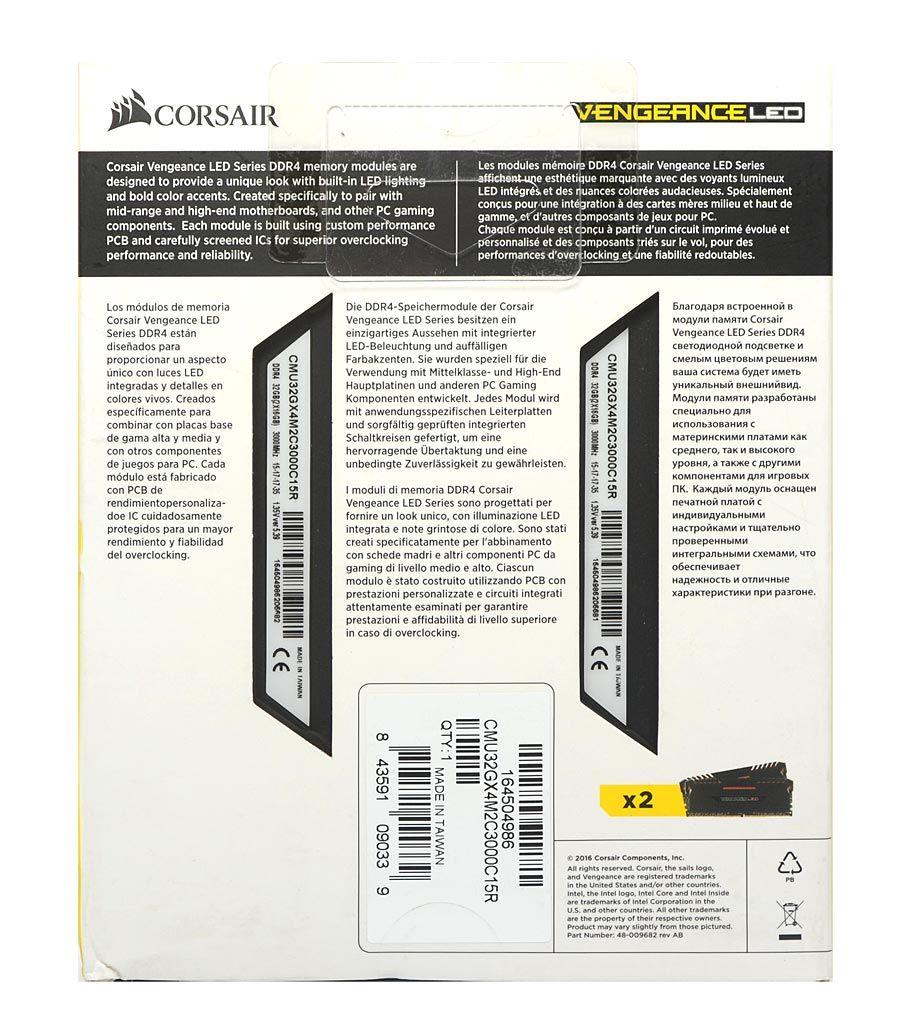 Memoria Corsair Vengeance Led 32GB (2X16GB) DDR4 3000MHZ BLACK - CMU32GX4M2C3000C15R