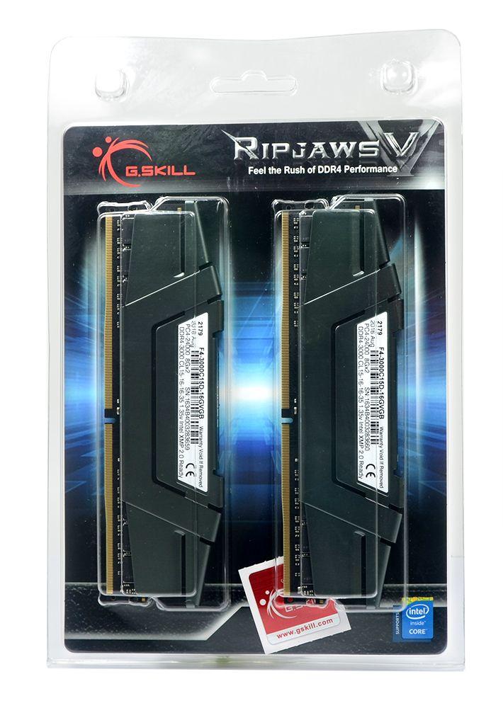 Memória G.Skill 16GB 2x 8GB Ripjaws V DDR4 3000Mhz - Blister - F4-3000C15D-16GVGB