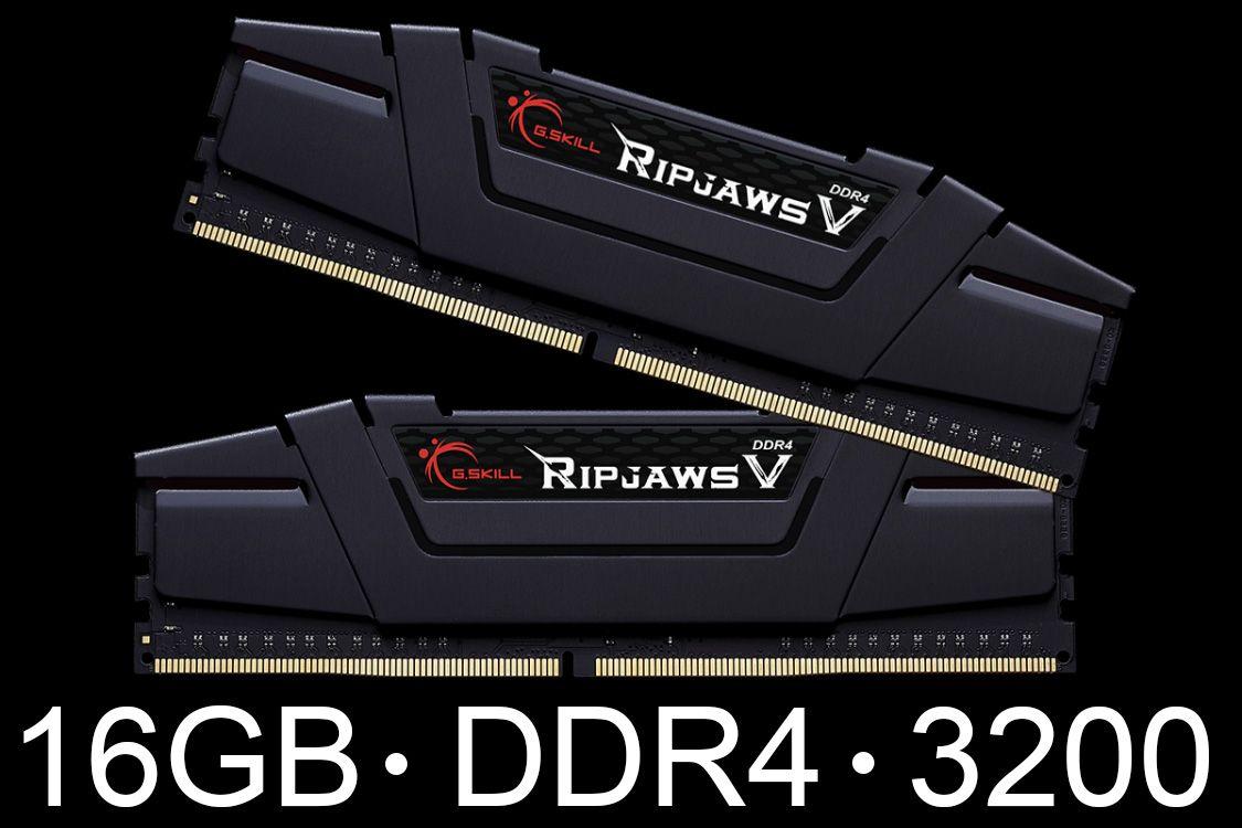 Memória G.Skill 16GB 2x 8GB Ripjaws V DDR4 3200Mhz - Blister - F4-3200C16D-16GVGB