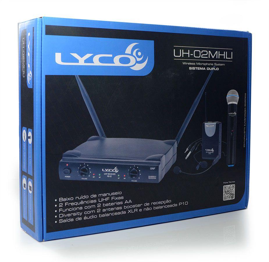 Microfone Sem Fio Lyco UH-02MHLI - Headset Lapela e Mic Mão