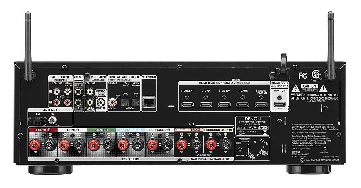 Receiver Denon AVR-S730H 7.2Ch Full 4K Ultra HD HEOS Bluetooth Apple AirPlay 2