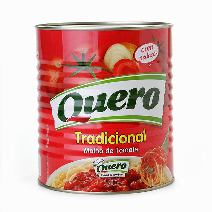 MOLHO DE TOMATE TRADICIONAL PEDAÇOS QUERO 3.100 Kg 1 Lata (COD. 785)  - Chef Distribuidora