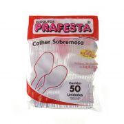 COLHER PLASTICA TRANSPARENTE P/ SOBREMESA 50 Unidades (COD. 897)