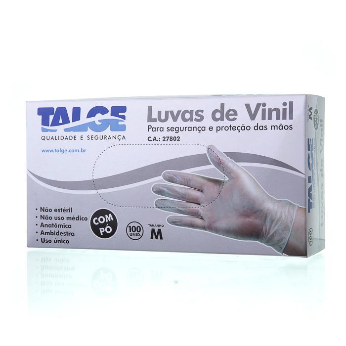 LUVA DESCARTÁVEL VINIL ( M) 100 UN (COD. 13915)  - Chef Distribuidora