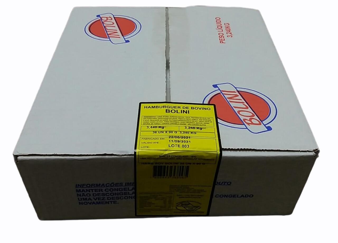 HAMBURGUER BOVINO BOLINI 90G  CX C/ 36 UNIDADES (COD. 348888)  - Chef Distribuidora