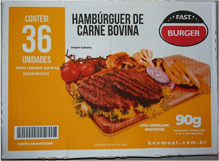 HAMBURGUER BOVINO FAST BURGUER 90G CX C/ 36 UN (COD. 20614)  - Chef Distribuidora