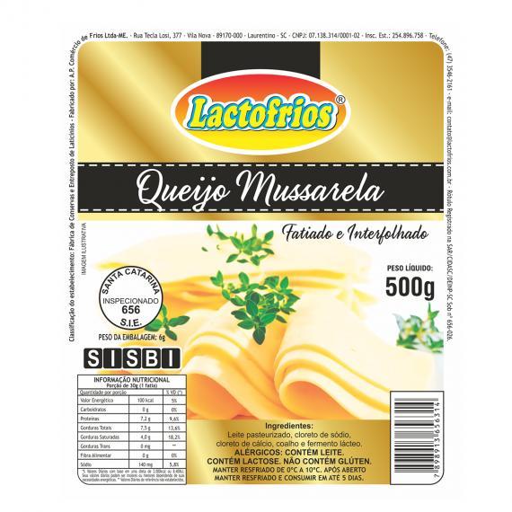 QUEIJO MUSSARELA FATIADO INTERFOLHADO LACTO FRIOS PCT 500G (COD. 17633)  - Chef Distribuidora