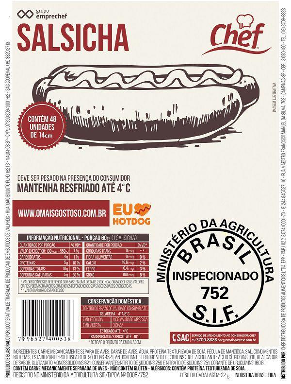 SALSICHA CHEF 3 Kg Pcte c/ 48 Unid. (COD. 688)  - Chef Distribuidora