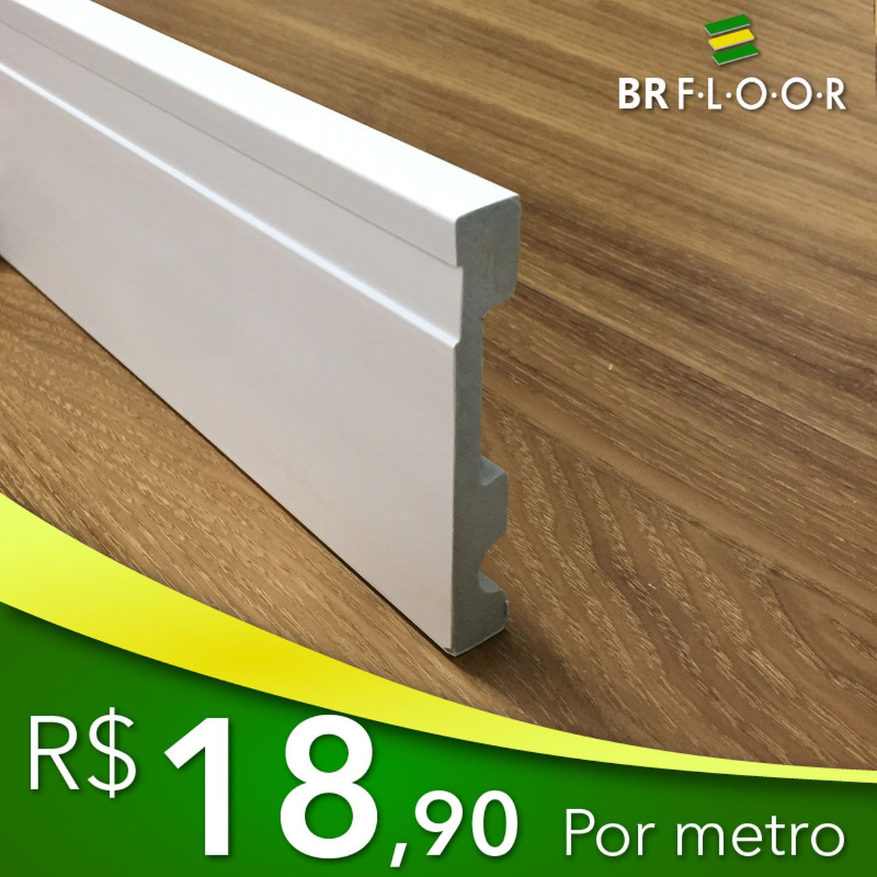 Rodapé Aqua BR Floor 10cm Frisado - Barra com 2,25m (BR100)