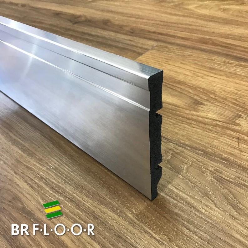 Rodapé Aqua BR Floor 12cm Aço Escovado - Barra com 2,25m (BR120Steel)