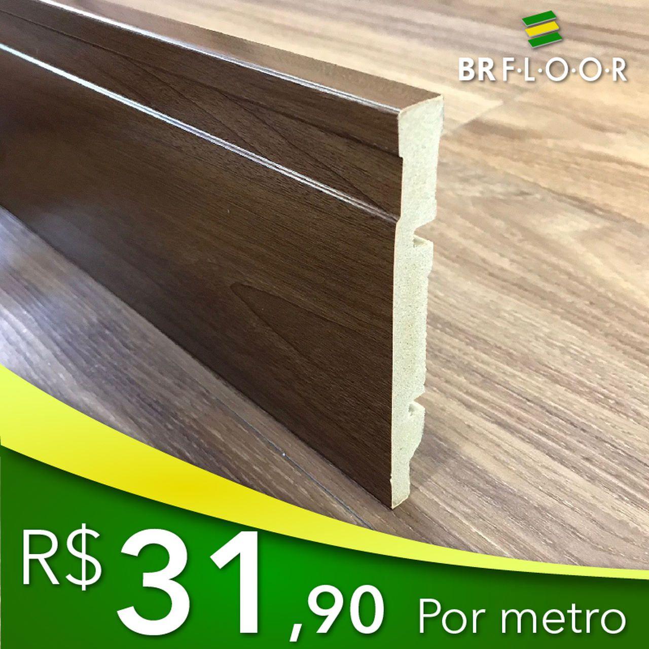 Rodapé Aqua BR Floor 12cm Madeirado - Barra com 2,25m (BR120Wood)