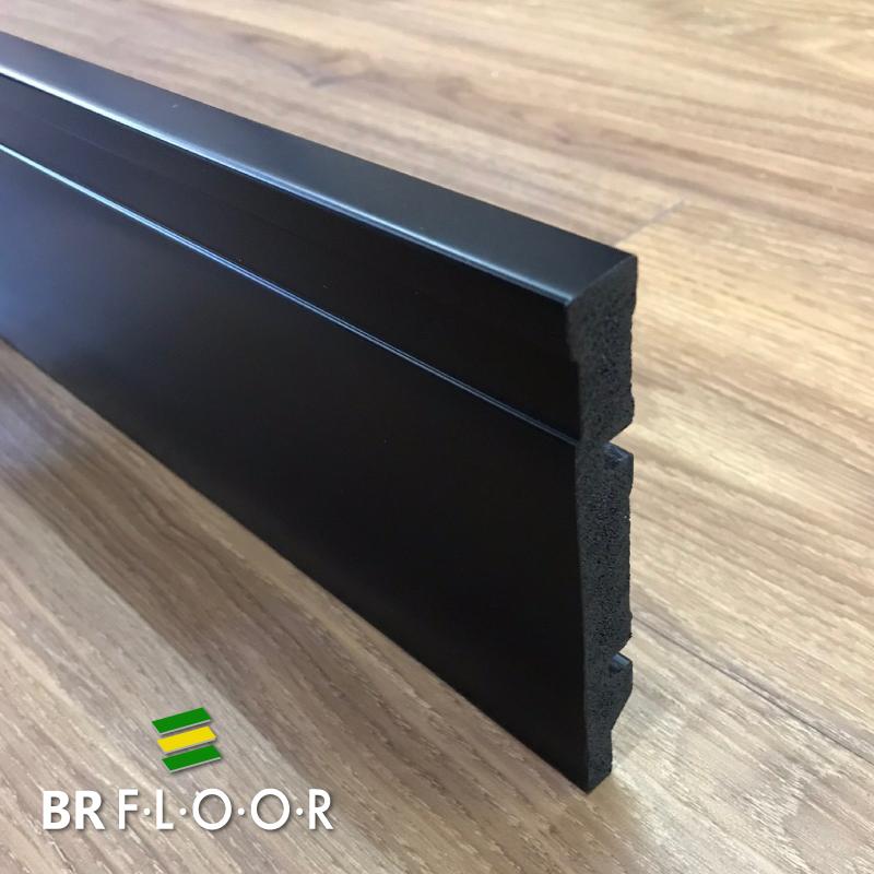 Rodapé Aqua BR Floor 12cm Preto - Barra com 2,25m (BR120Black)