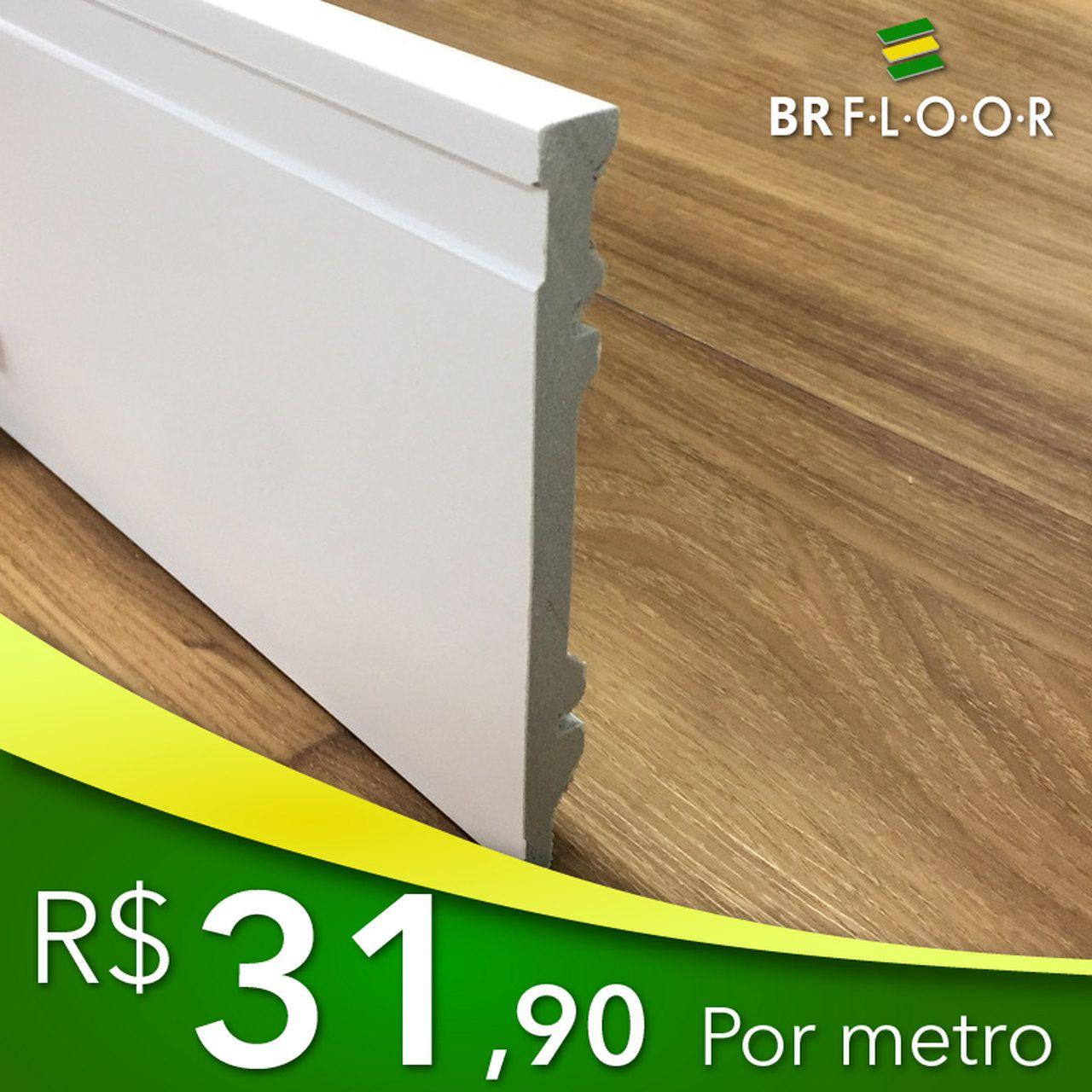 Rodapé Aqua BR Floor 15cm Frisado - Barra com 2,25m (BR150)