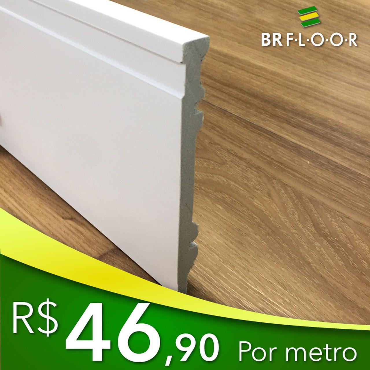 Rodapé Aqua BR Floor 20cm Frisado - Barra com 2,25m (BR200)