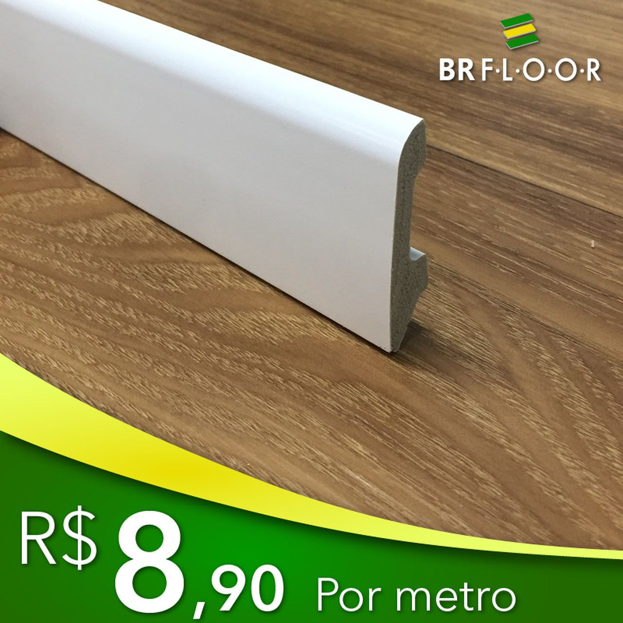 Rodapé Aqua BR Floor 6cm Boleado - Barra com 2,25m (BR60)