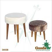 Conjunto 2 Banquetas Redonda Branco/Marrom Suede Goods Br