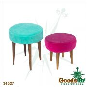 Conjunto 2 Banquetas Redonda Rosa/Azul Suede Goods Br